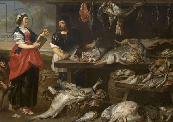 Fishmonger's Stall (oil on canvas)