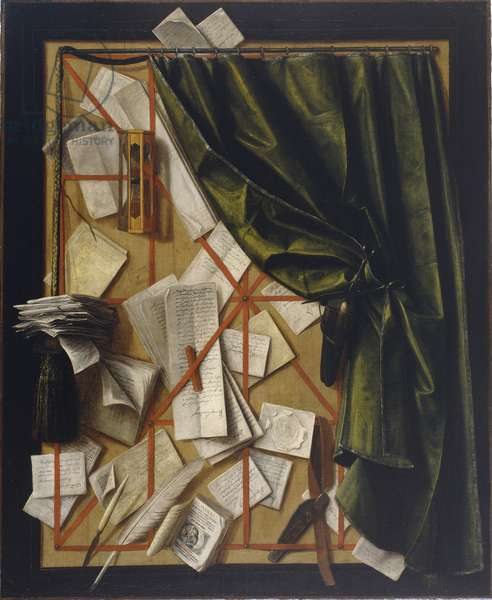 Trompe l'oeil: Letter rack with an hourglass, a razor and scissors, 1664 (oil on canvas)