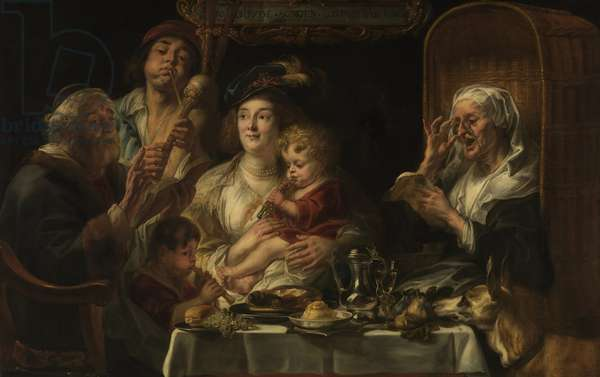 The Old Folks Sing, the Young Folks Chirp, 1638 (oil on canvas)
