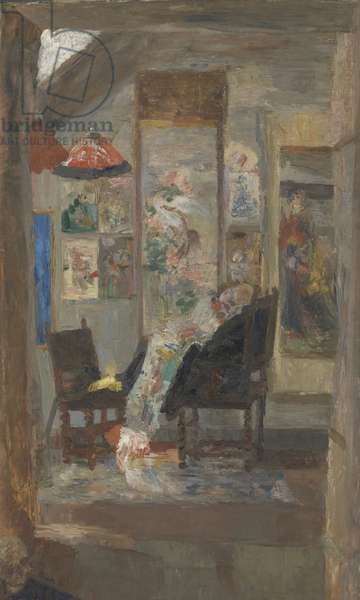 Skeleton Looking at Chinoiseries, 1885 (oil on canvas)