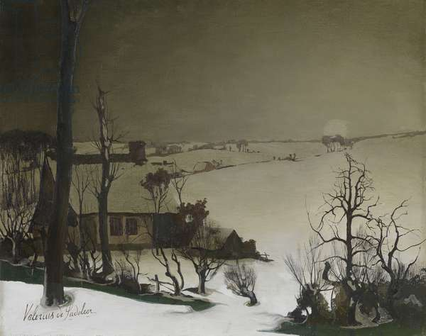 Winter Landscape in the Morning (oil on panel)