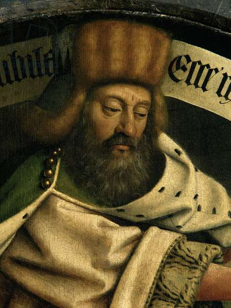 Detail of the Prophet Zacharias, from the exterior of the left wing of the Ghent Altarpiece, 1432 (oil on panel) (see 472376, 472325)