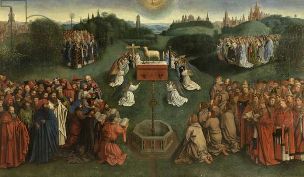 Copy of The Adoration of the Mystic Lamb, from the Ghent Altarpiece, lower half of central panel (oil on panel)