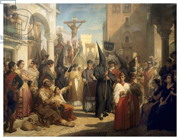 Good Friday Procession at Seville (oil on canvas)