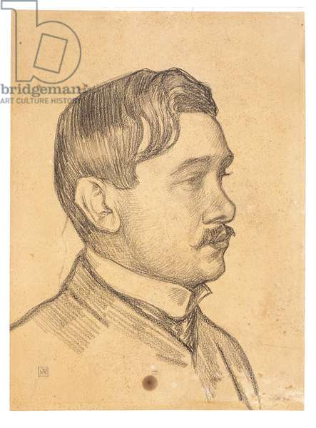 Portrait of Maurice Maeterlinck (conte on paper)