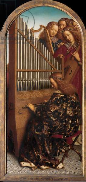 Angel musicians with St. Cecilia, from the Ghent Altarpiece, 1432 (oil on panel) (detail of 472324)