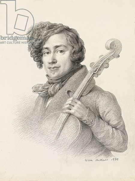 Portrait of Servais, 1838 (pencil on paper)