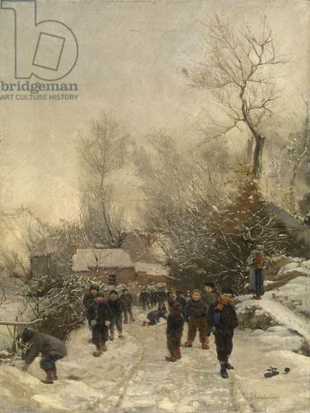 Village with Children in the Snow (oil on canvas)
