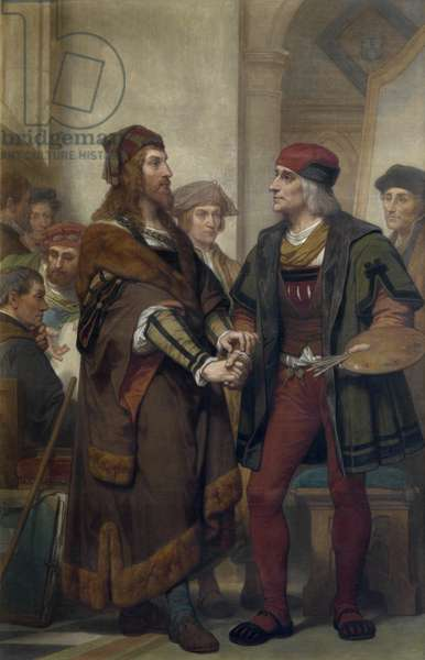 Albrecht Dürer visiting Quinten Massijs (oil on canvas)