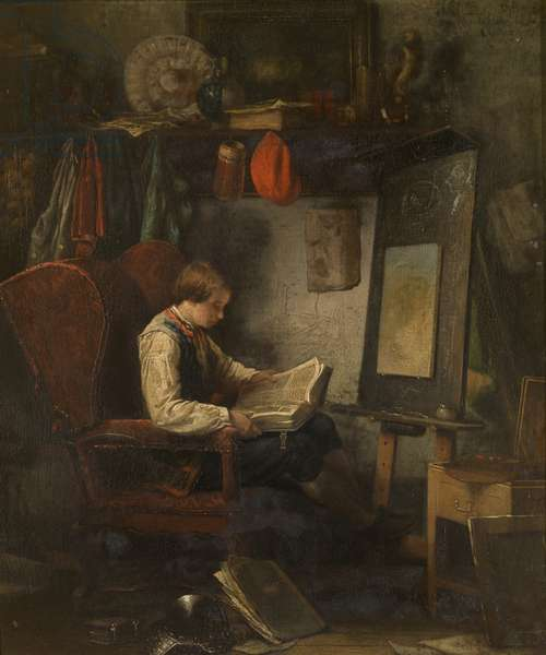 Young Artist in a Studio (oil on panel)