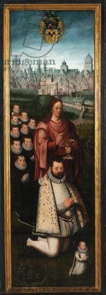 Portrait of Juan Pardo II and his wives Anna Ingenieulandt and Maria Anchemant, 1580 (oil on panel)