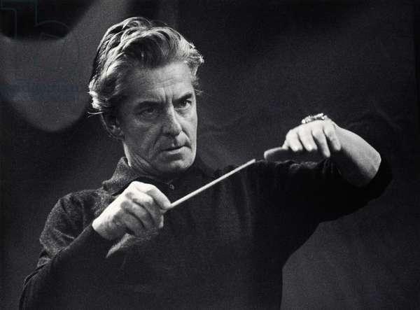 Herbert von Karajan conducting with baton, Berlin, 1969. Austrian conductor, 5 April 1908 - 16 July 1989.