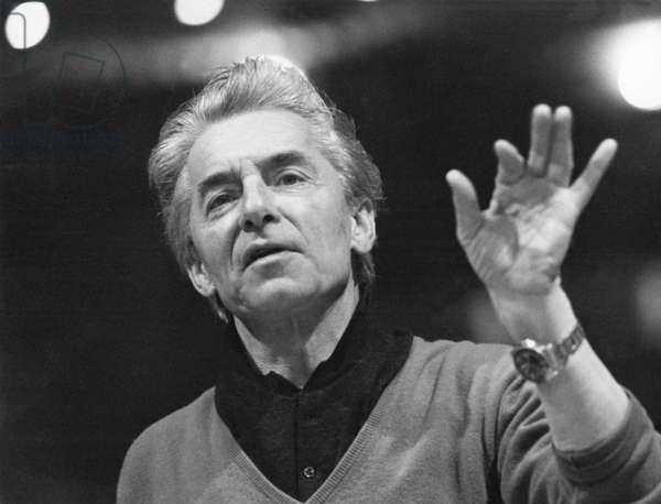 Herbert von Karajan conducting, Salzburg, 1970. Austrian conductor, 5 April 1908 - 16 July 1989.
