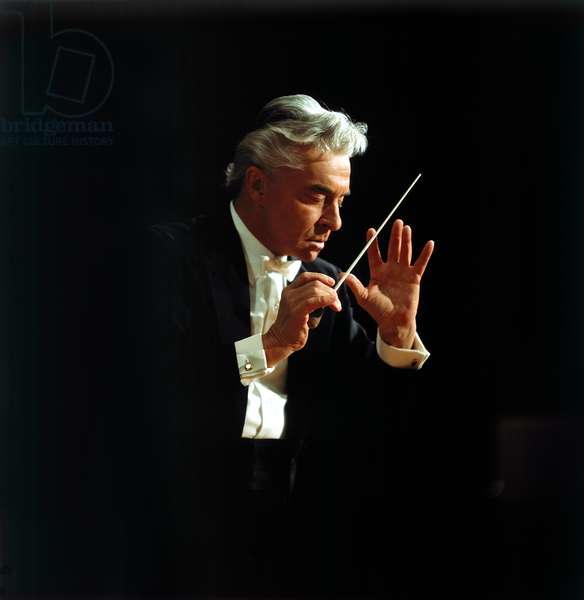 Herbert von Karajan conducting. Austrian conductor, 5 April 1908 - 16 July 1989.