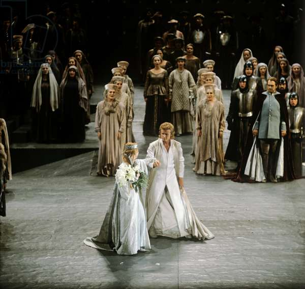 Richard Wagner 's opera Lohengrin - production by German director Goetz Friedrich at Bayreuth with the Orchester der Bayreuther Festspiele. Wagner, German composer & author, 22 May 1813 - 13 February 1883.