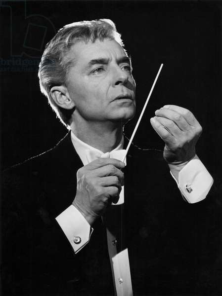 Herbert von Karajan conducting with baton, Berlin, 1967. Austrian conductor, 5 April 1908 - 16 July 1989.