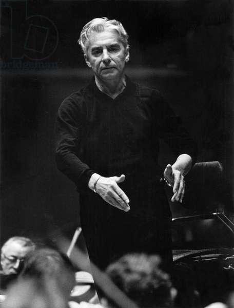 Herbert von Karajan conducting, Berlin, 1972. Austrian conductor, 5 April 1908 - 16 July 1989.