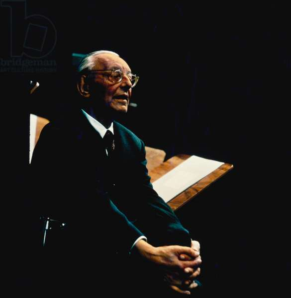 Carl Orff at recording of Il Temporum in a concert conducted by Herbert von Karajan, in Salzburg. German composer & teacher, 10 July 1895 - 29 March 1982.