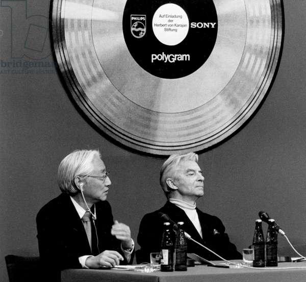 Herbert von Karajan at a press conference