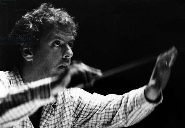 Daniel Barenboim conducting with baton at Bayreuth. Israeli pianist & conductor, 15 November 1942 -