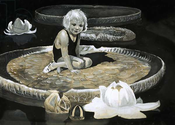 Girl on a water lily as big as a boat