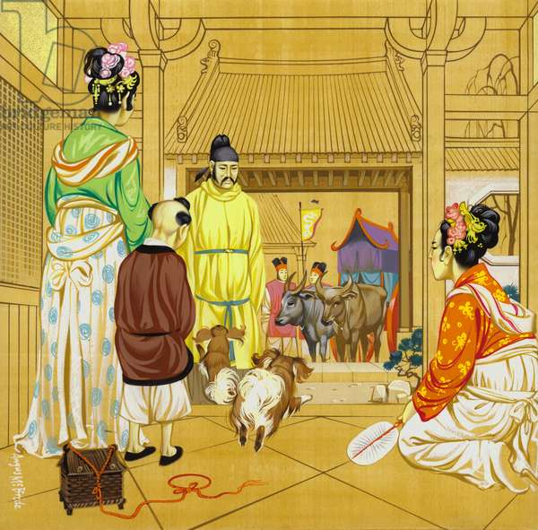 Chinese home in the 13th Century (gouache on paper)