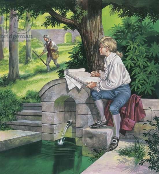 Thomas Gainsborough (1727-88) as a boy (goauche on paper)
