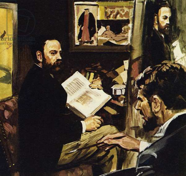 Emile Zola predicted that Manet's work would hang in the Louvre (colour litho)
