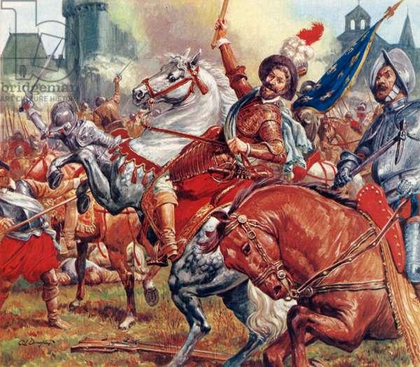 Battle of Courtras (colour litho)