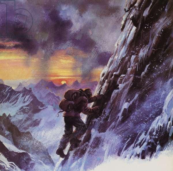 Walter Bonatti stuggling upwards toward the peak of the Matterhorn (colour litho)