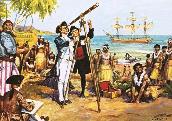 Captain Cook making astronomical observations at Tahiti