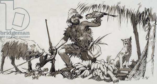 What Really Happened: The Real Robinson Crusoe, 1964 (gouache on paper)