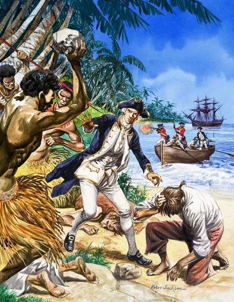 The murder of Captain Cook in Hawaii