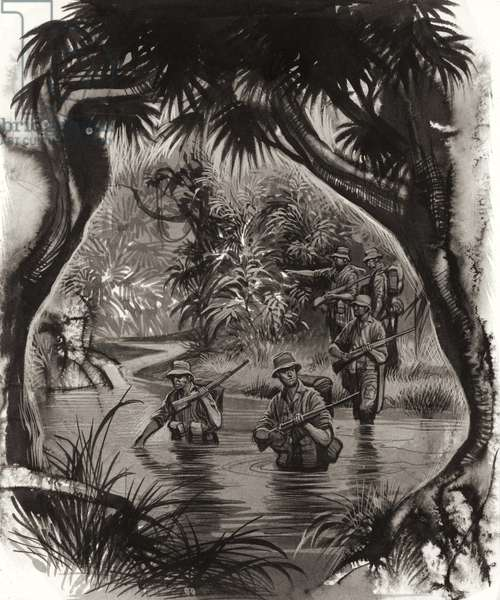 ANZAC troops crossing a jungle river during a World War II patrol (gouache on paper)