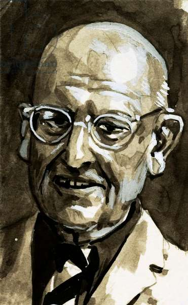 The 'Traitor' Who Made the World Laugh, (P G Wodehouse) (gouache on paper)