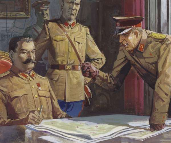General Georgi Zhukov arguing with Stalin about military tactics