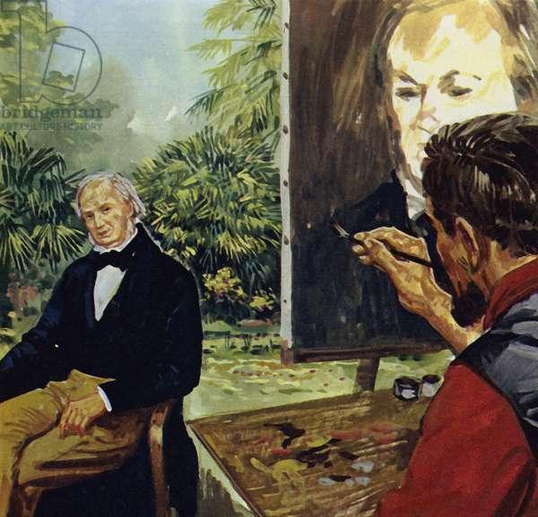 Renoir painting a portrait of Richard Wgner (colour litho)