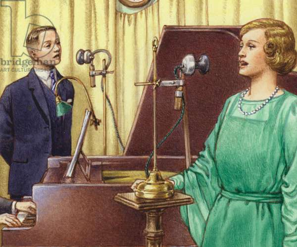 The early days of studio broadcasting at the BBC (gouache on paper)