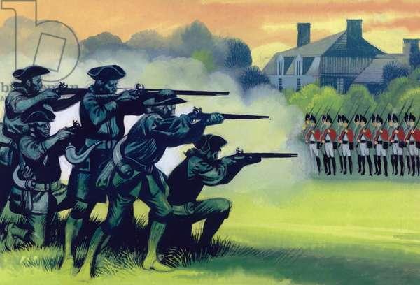 The Battle Of Lexington (gouache on paper)