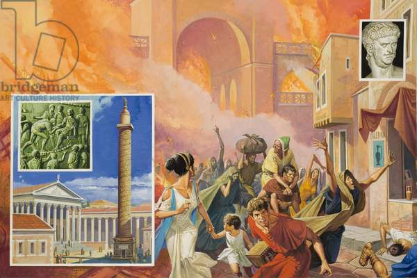 Great Fire of Rome in 64 AD (gouache on paper)