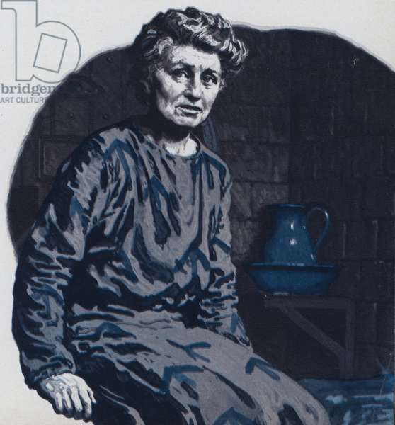 Emmeline Pankhurst in prison (colour litho)
