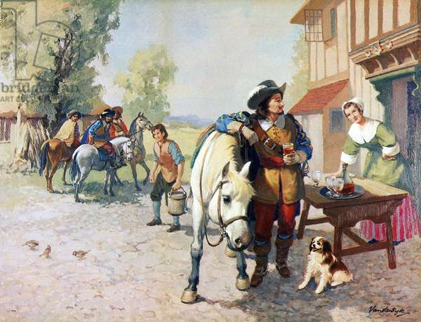 Four cavaliers on the way to London finding a dog that became the first King Charles Spaniel