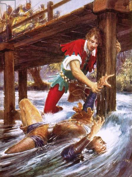 Robin Hood rescuing Little John from a river