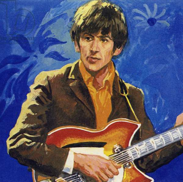George Harrison of The Beatles (colour litho)