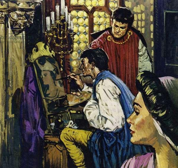 Count John became Van Eyck's patron at The Hague (colour litho)