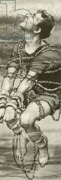 Harry Houdini, handcuffed and in chains, underwater (litho)