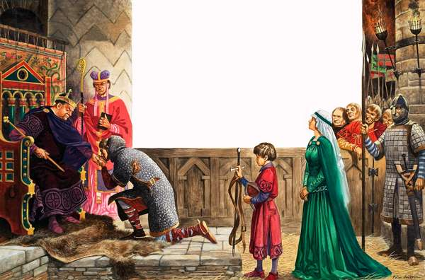 Knight swearing allegiance to King William I (gouache on paper)