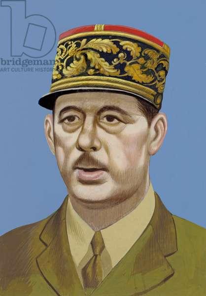 Portrait of Charles De Gaulle (gouache on paper)