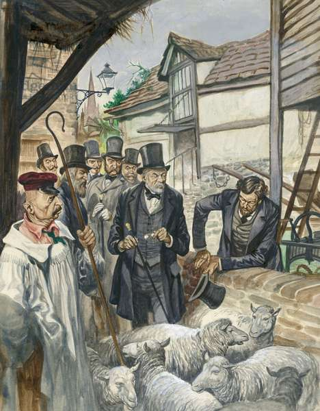 Louis Pasteur sees the results of his experiment with a vaccine for anthrax (gouache on paper)