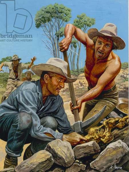 Gold Prospectors (gouache on paper)